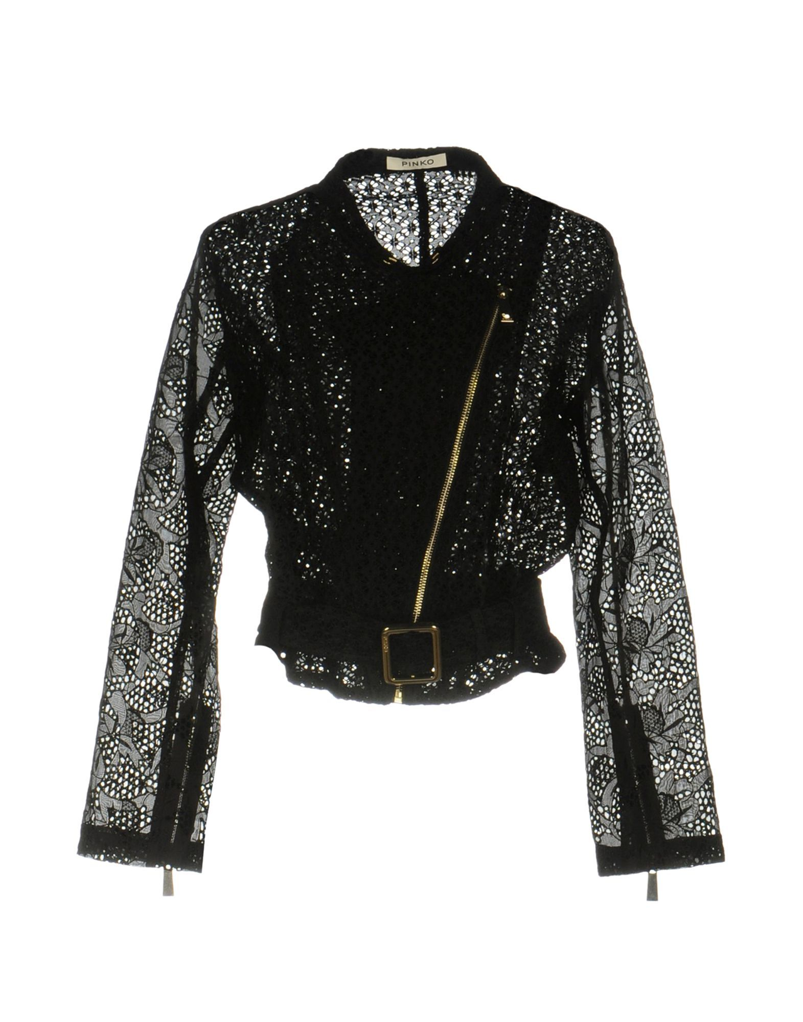 Pinko Black Silk And Lace Biker Jacket