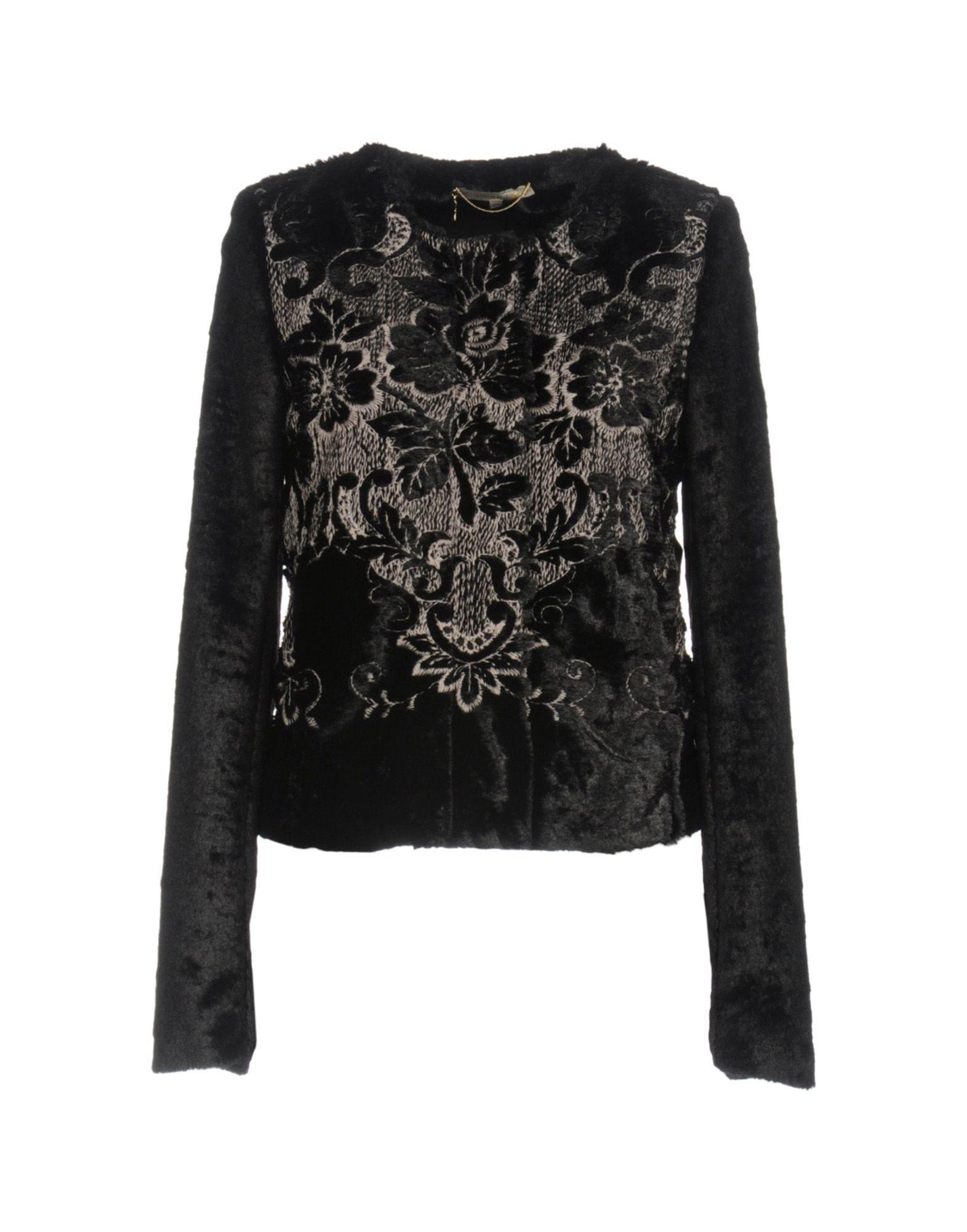 Patrizia Pepe Black Jacquard And Faux Fur Jacket