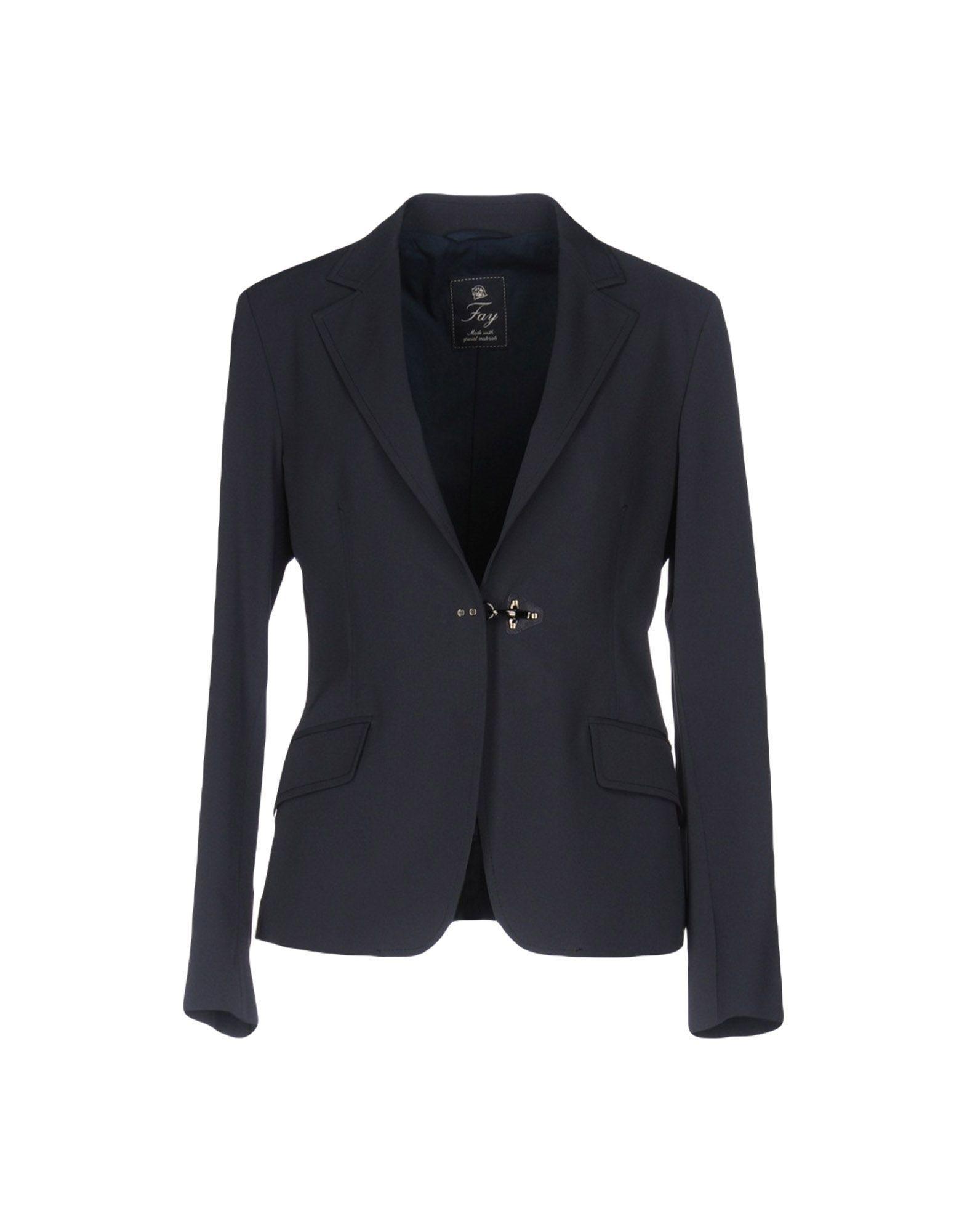 Fay Dark Blue Twill Single Breasted Blazer