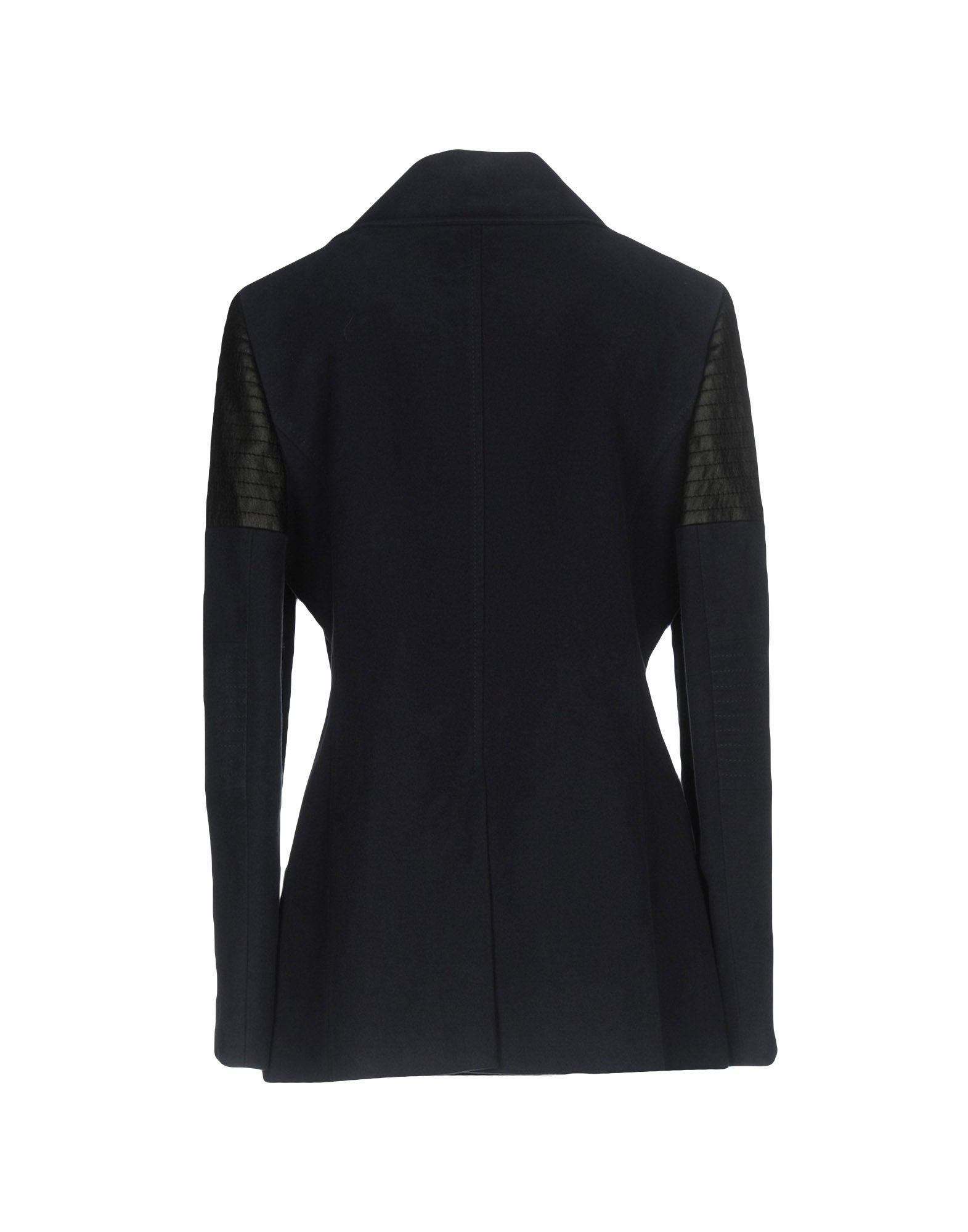 Karen Millen Dark Blue Cotton And Faux Leather Double Breasted Coat