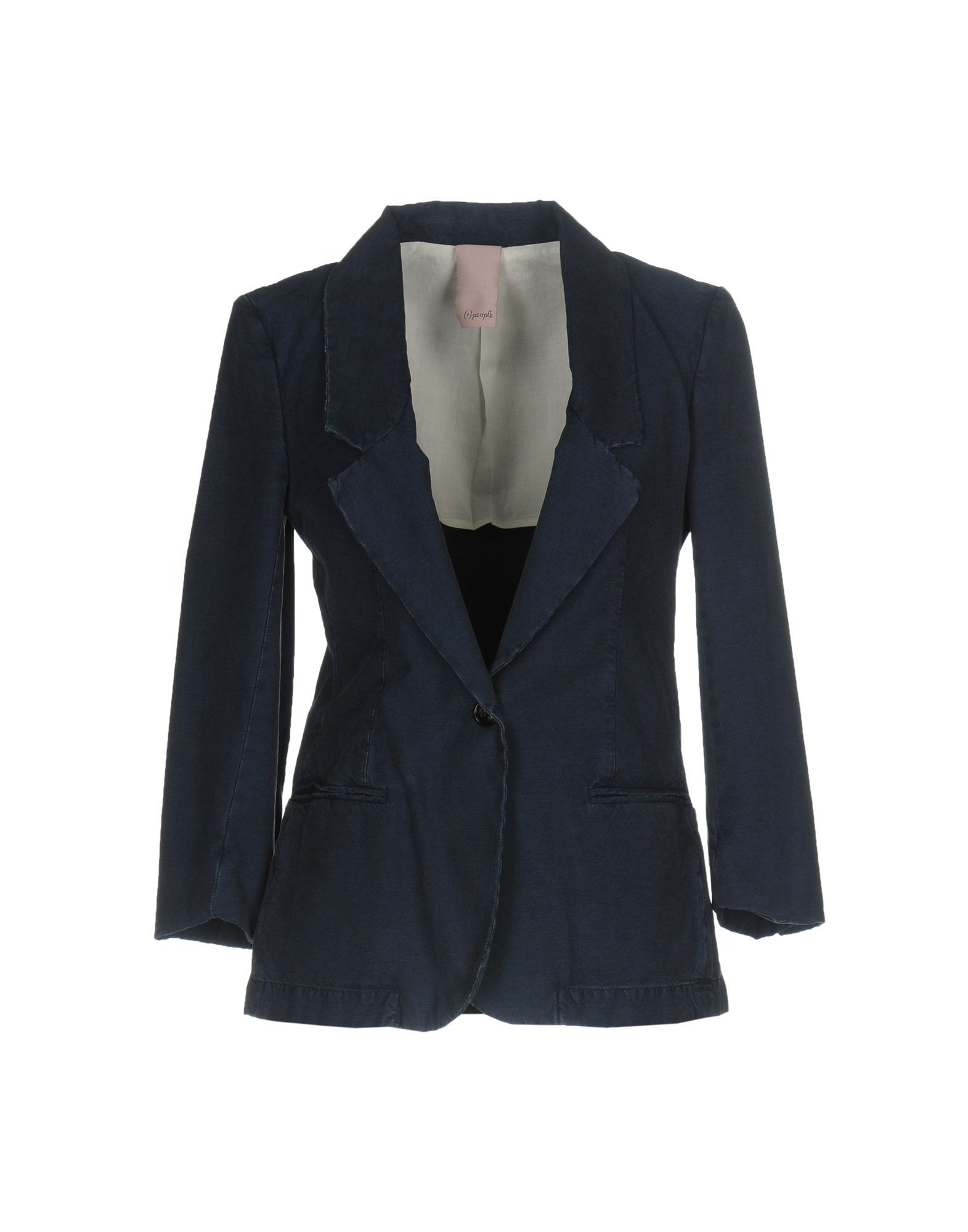SUITS AND JACKETS (+) People Dark blue Woman Cotton