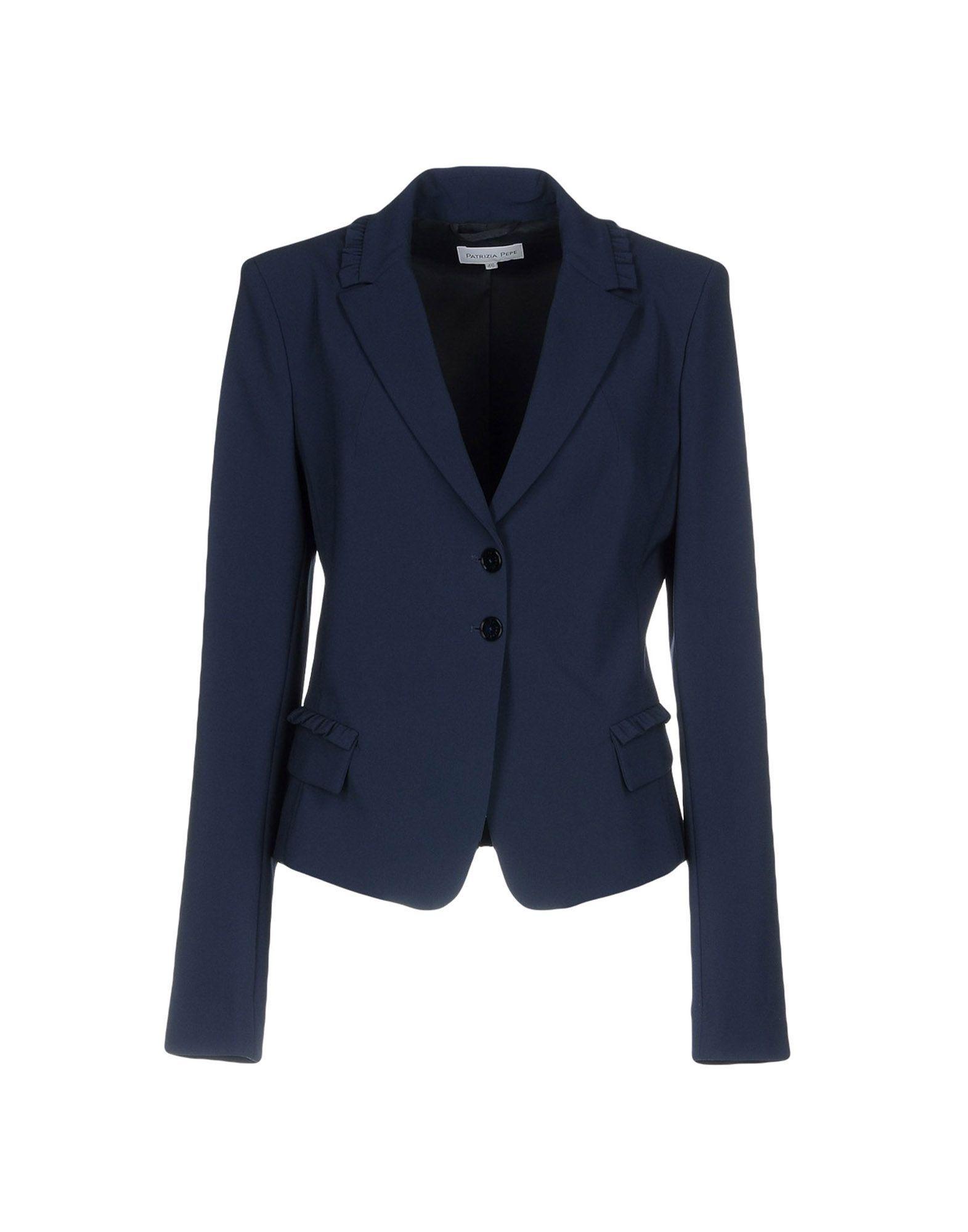 Patrizia Pepe Dark Blue Crepe Single Breasted Blazer