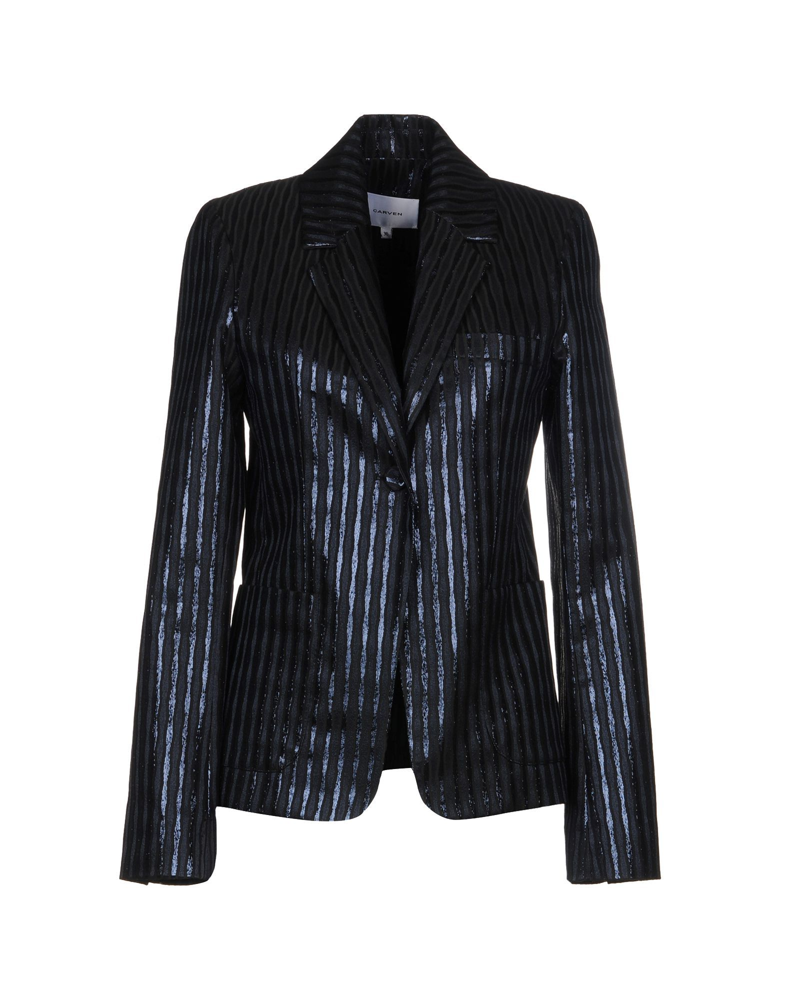 Carven Dark Blue Lame Single Breasted Jacket