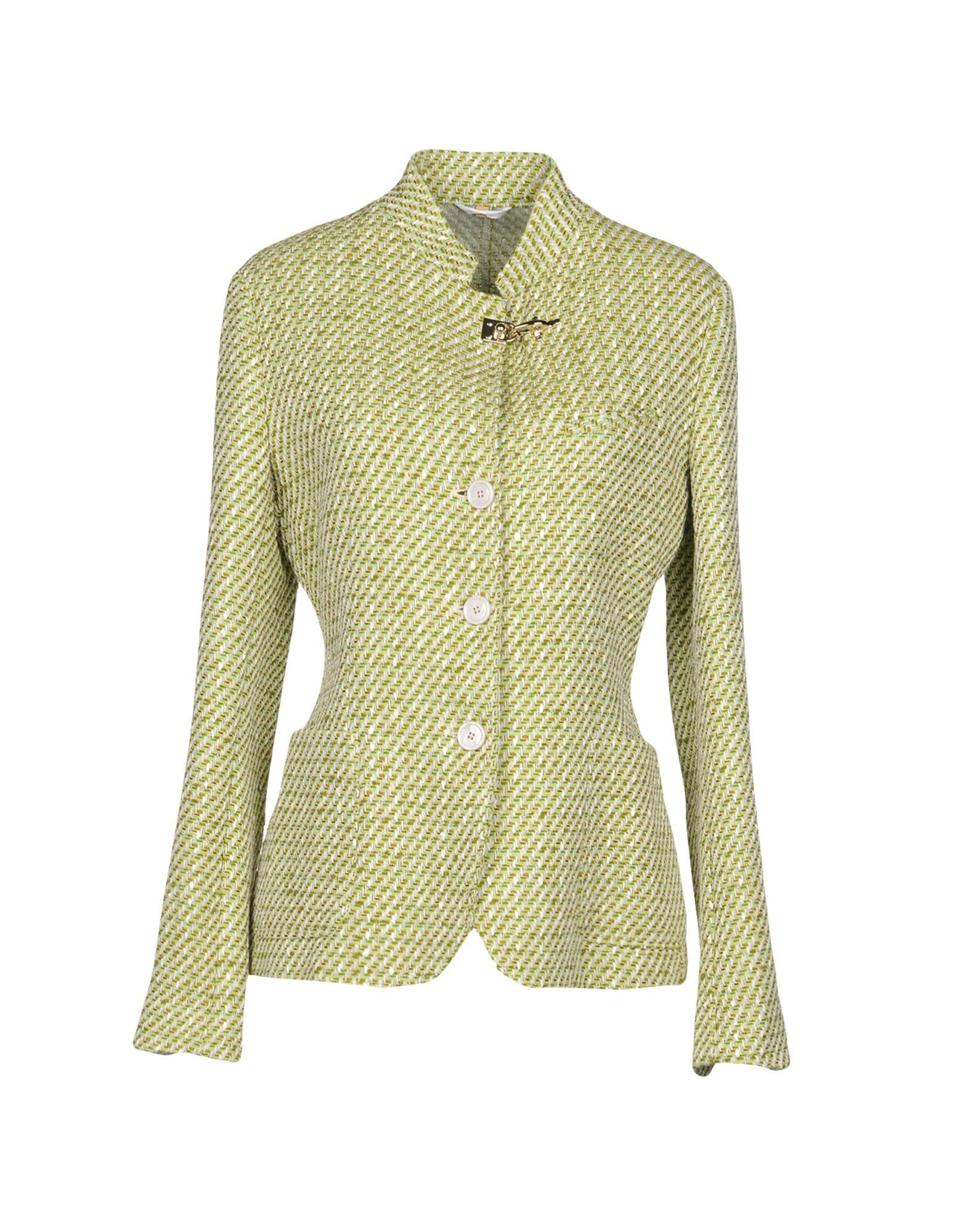 Fay Light Green Cotton Single Breasted Jacket