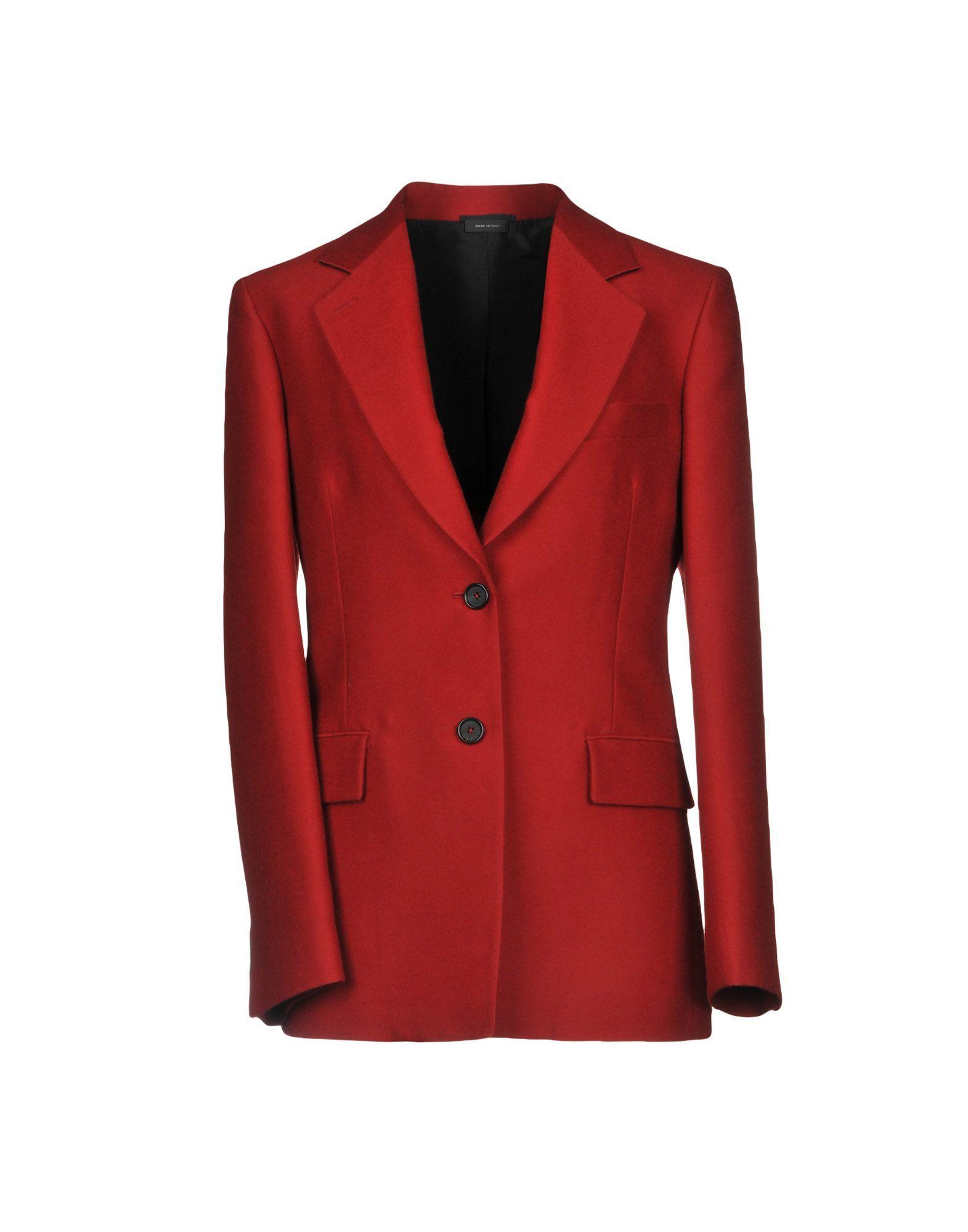 Jil Sander Red Virgin Wool Single Breasted Blazer
