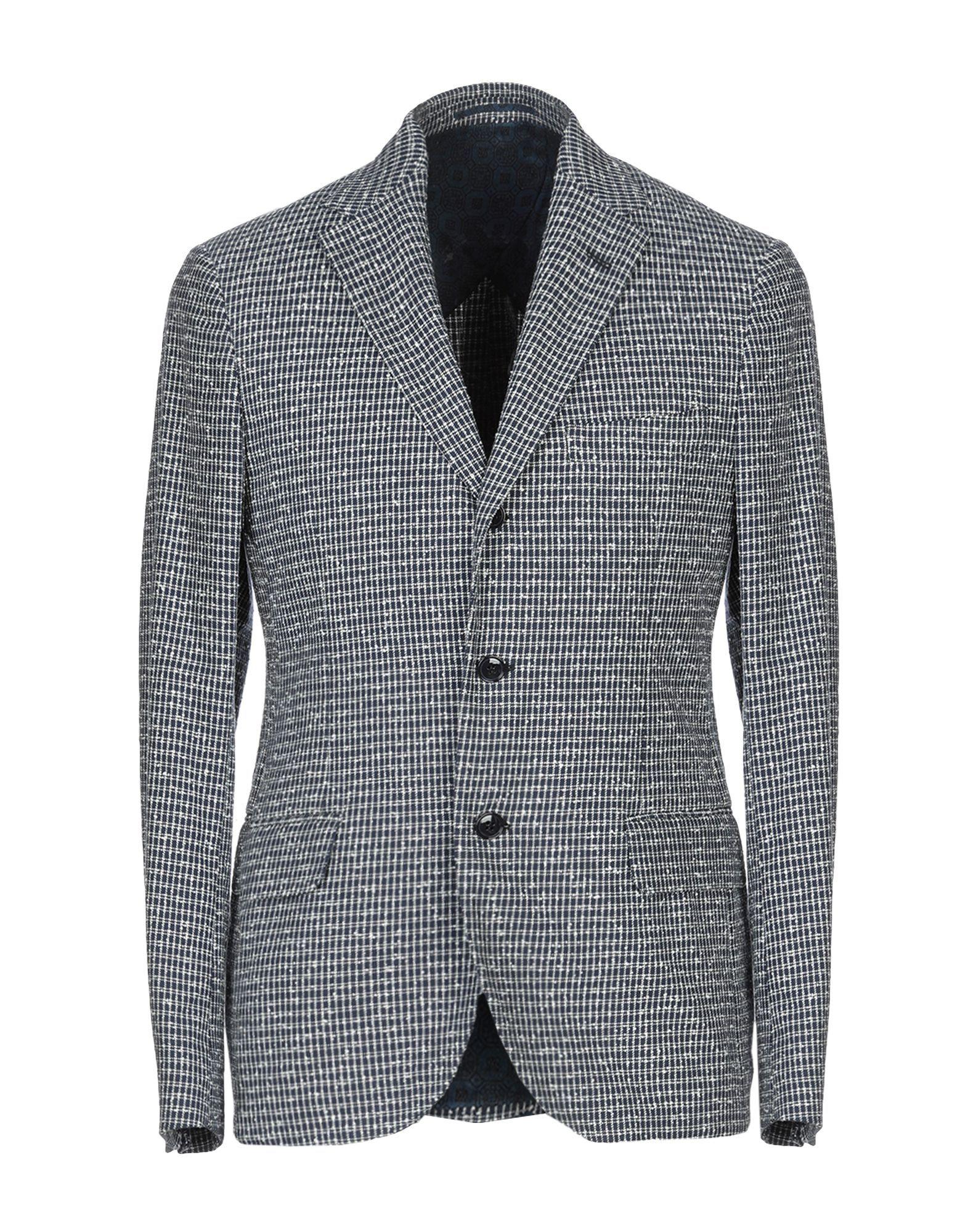 Mp Massimo Piombo Dark Blue Cotton Jacquard Blazer