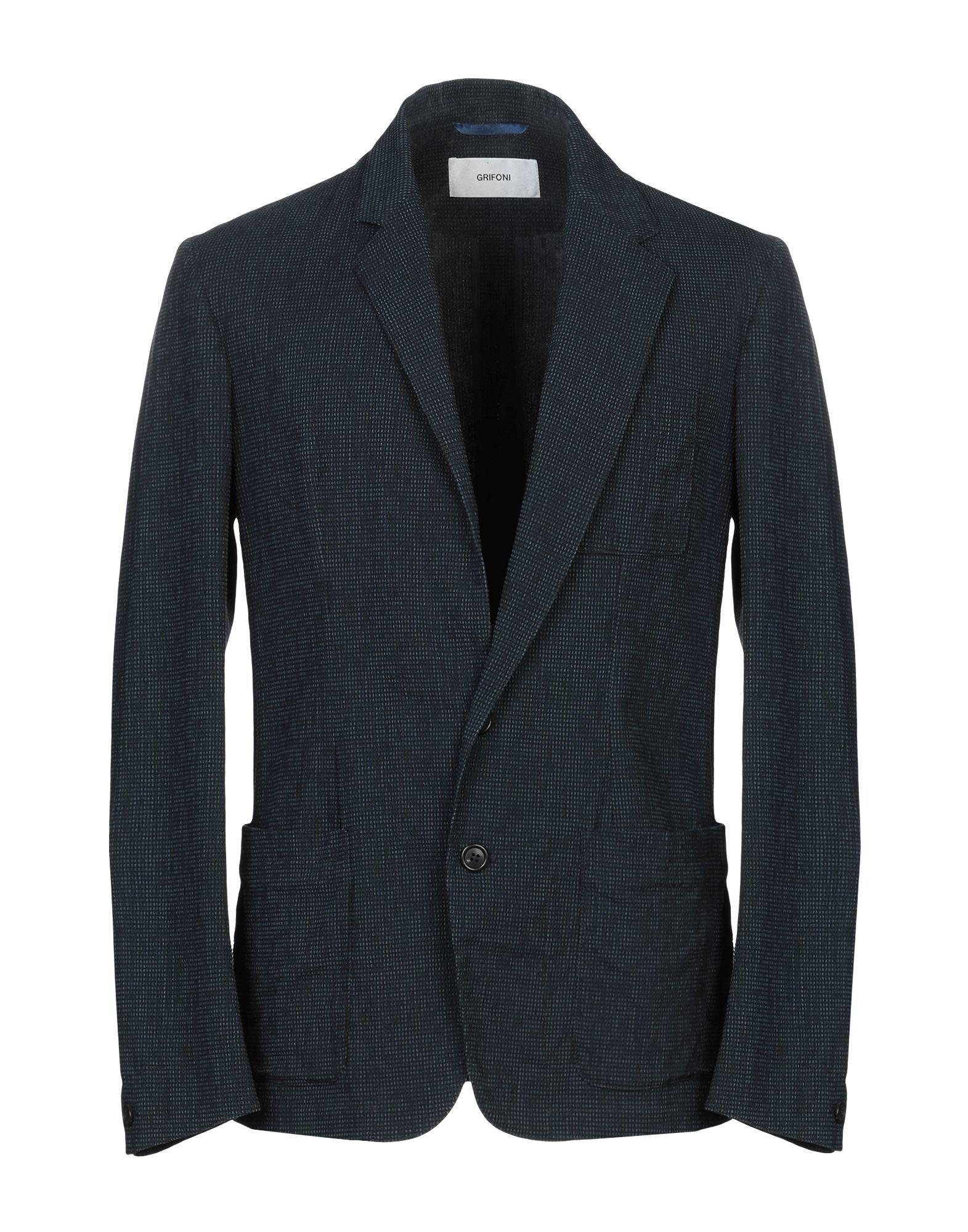 Mauro Grifoni Blue Cotton Single Breasted Jacket