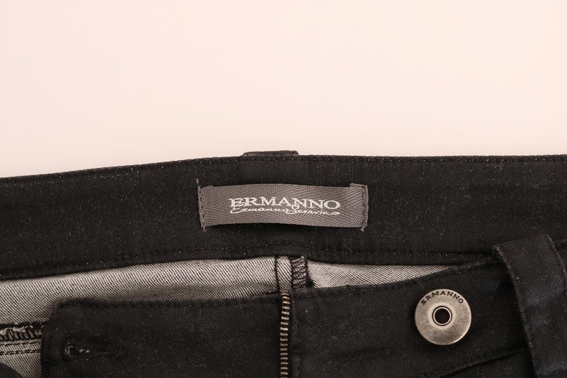 Ermanno Scervino Black Cotton Slim Fit Jeans