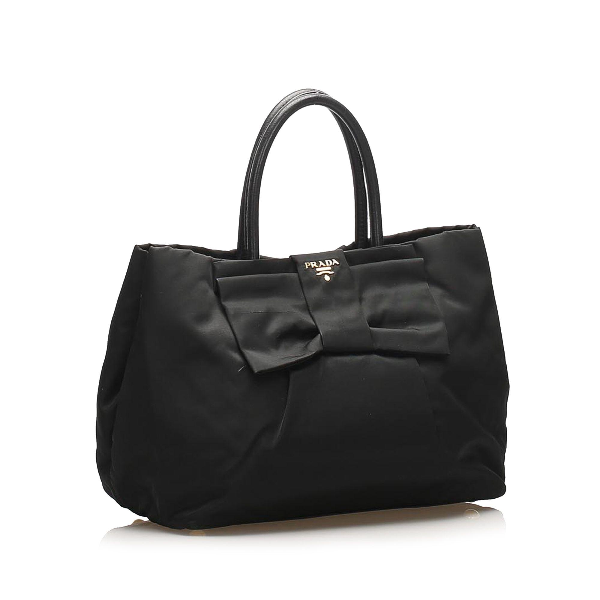 Vintage Prada Fiocco Bow Tessuto Tote Bag Black