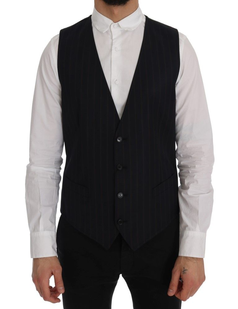 Dolce & Gabbana Blue Wool Stretch Vest