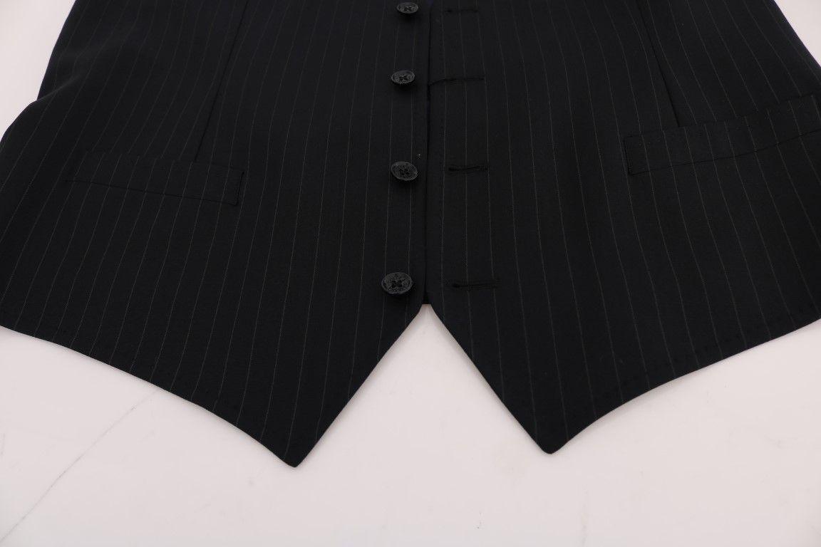 Dolce & Gabbana Blue STAFF Wool Stretch Vest