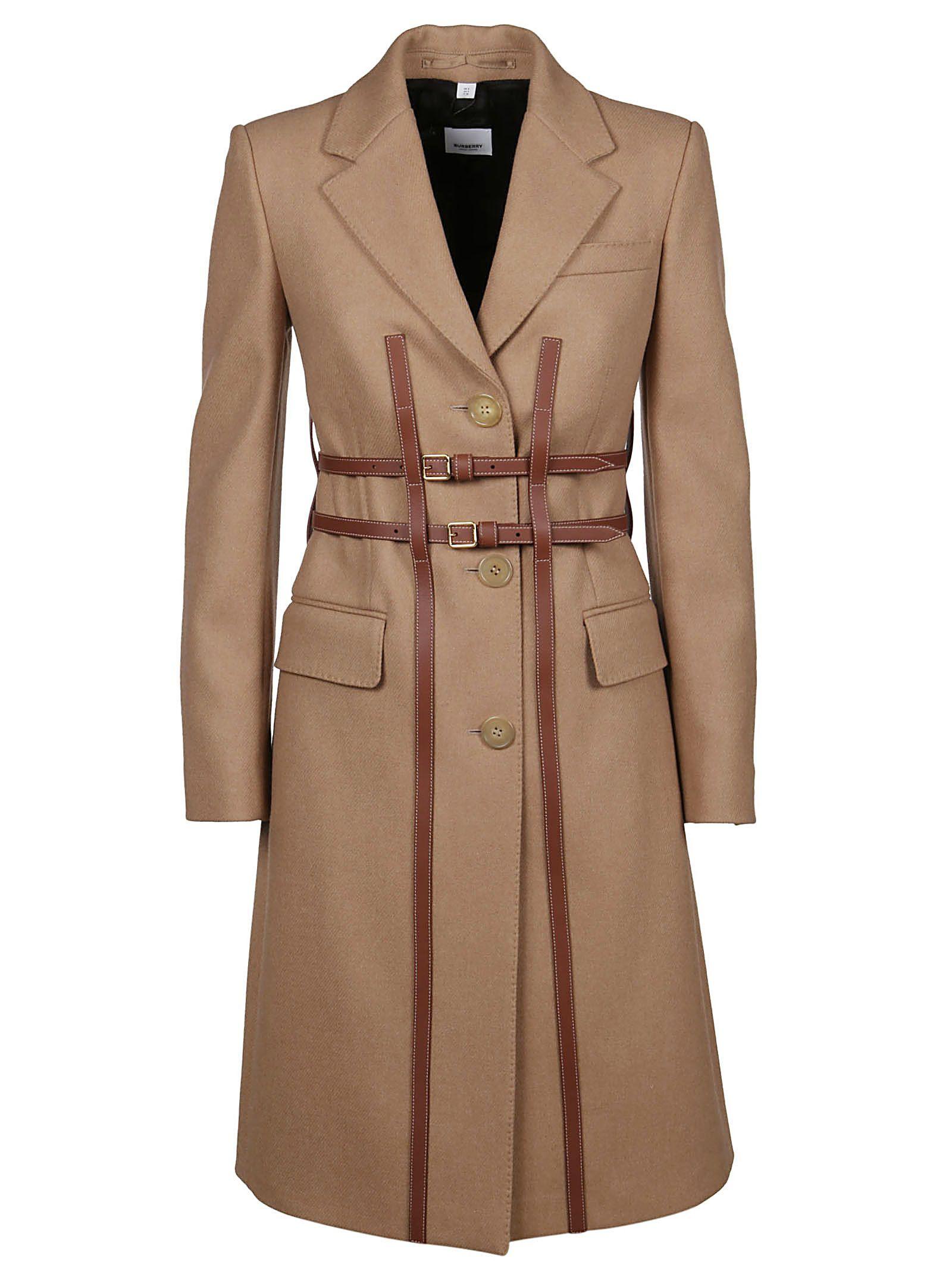 BURBERRY WOMEN'S 8014171 BROWN WOOL COAT
