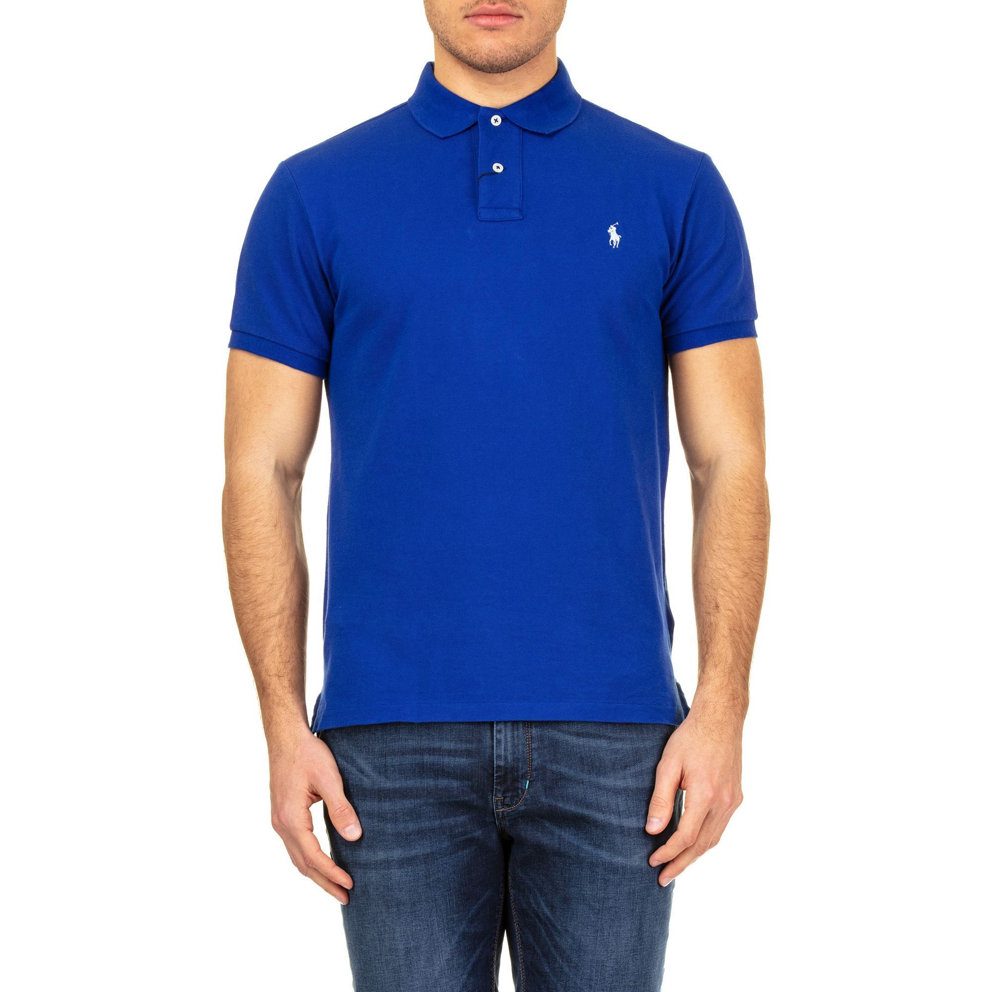 RALPH LAUREN MEN'S 710536856085 BLUE COTTON POLO SHIRT