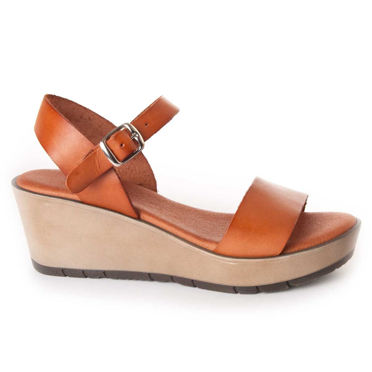 Leindia Wedge Sandal in Camel