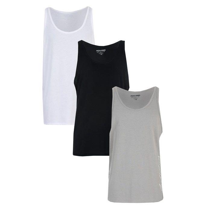 Men's Jack Jones Jax 3 Pack Vests in Black Grey White
