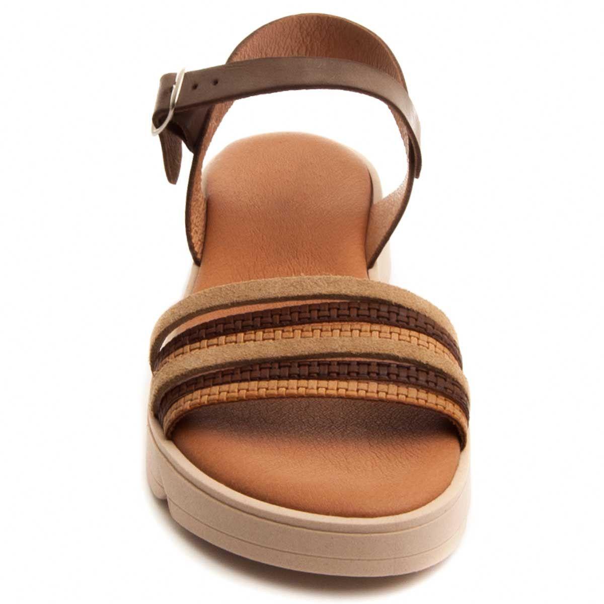 Purapiel Strappy Sandal in Brown
