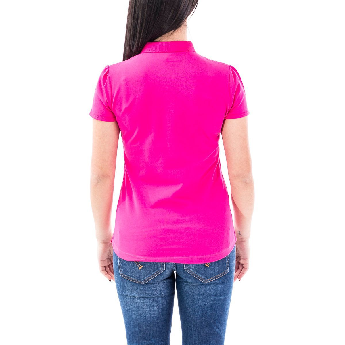 SUN 68 WOMEN'S A3020220 FUCHSIA COTTON POLO SHIRT