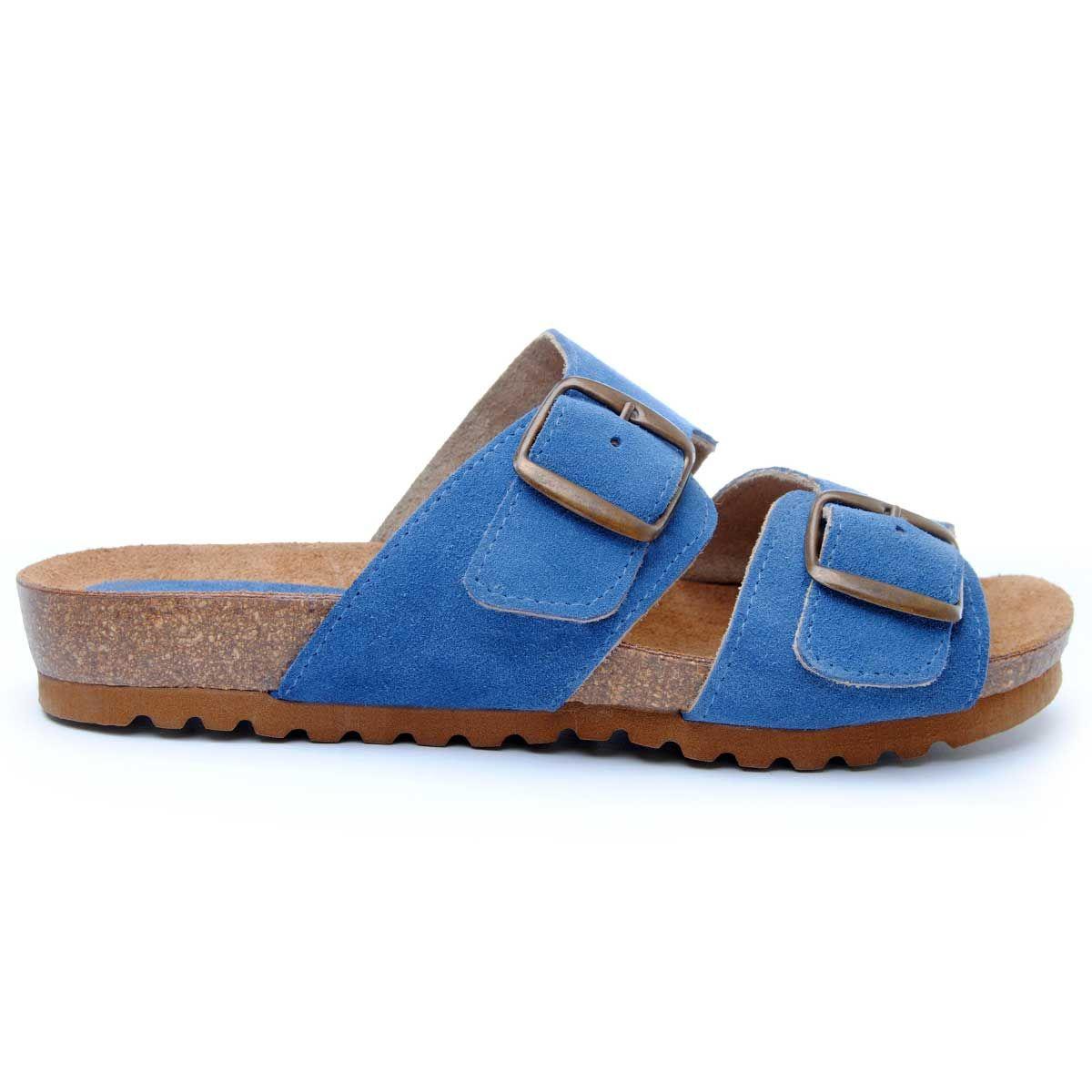 Purapiel Double Buckle Flat Sandal in Blue