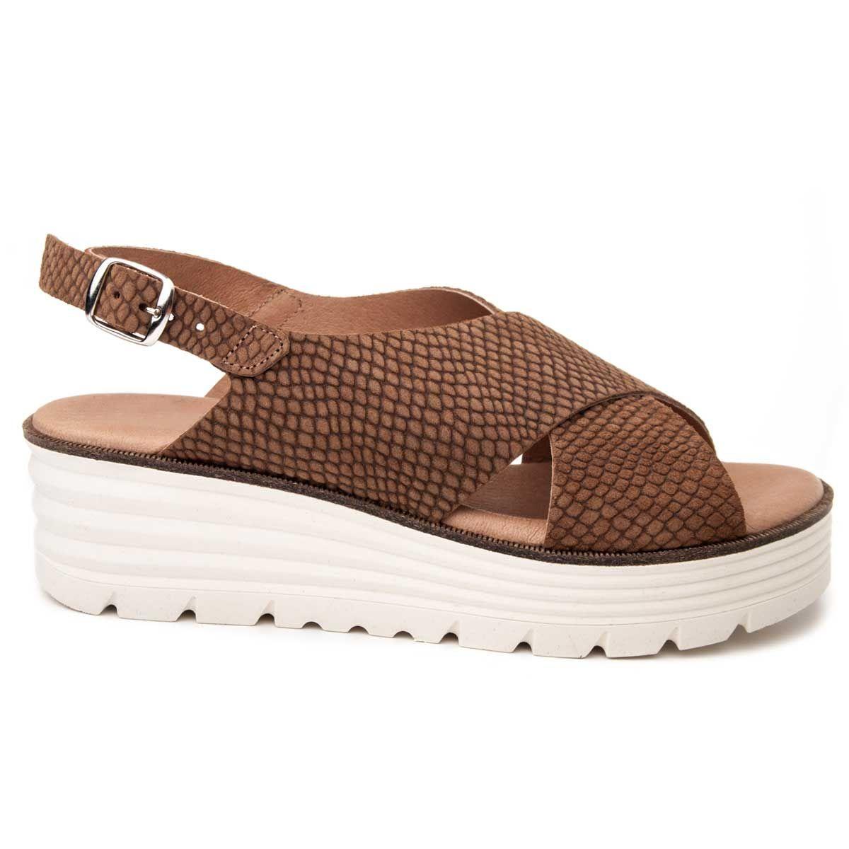 Purapiel Wedge Sandal in Taupe