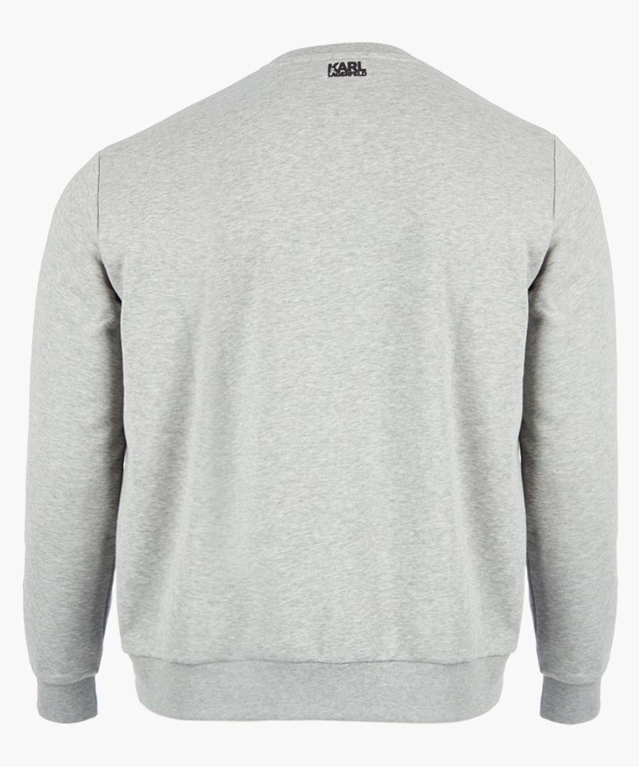 Grey logo motif long sleeved jumper