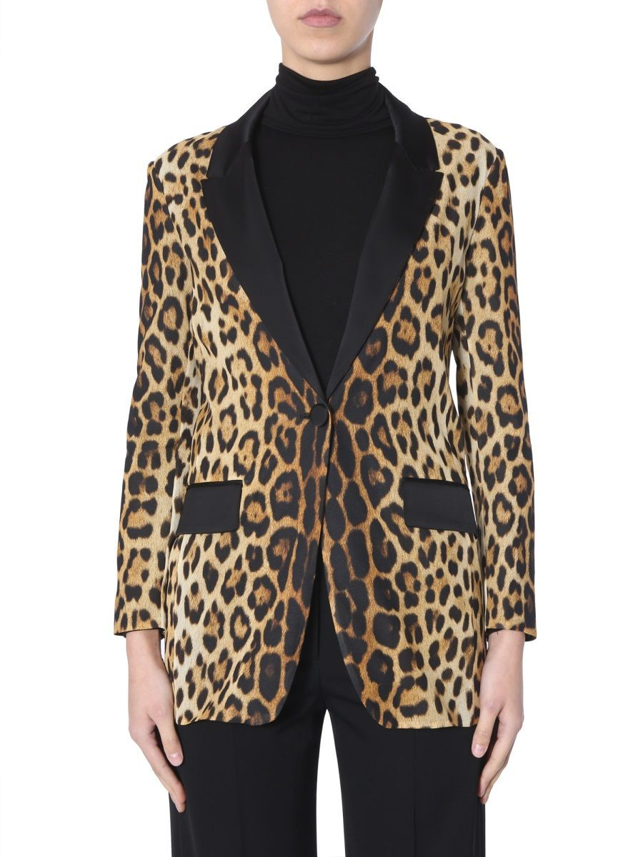 MOSCHINO WOMEN'S J050905561888 BROWN SILK BLAZER
