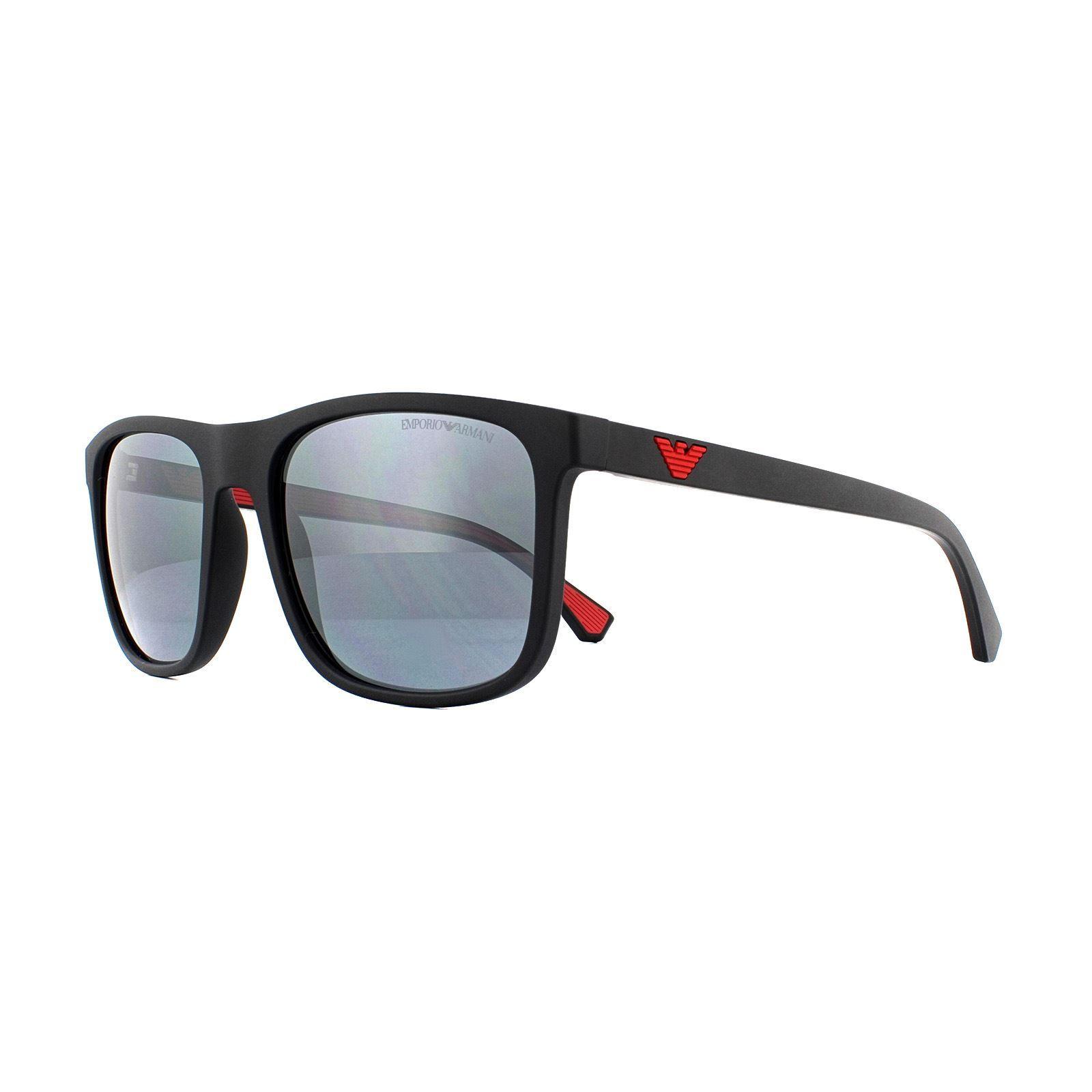 Emporio Armani Sunglasses 4129 50016G Matte Black Light Grey Mirror Black