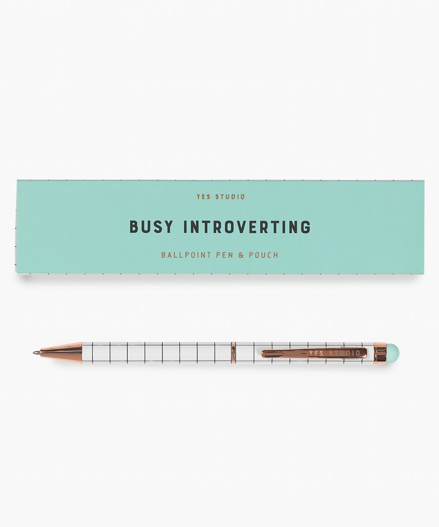 2pc Busy introverting blue pen & case set