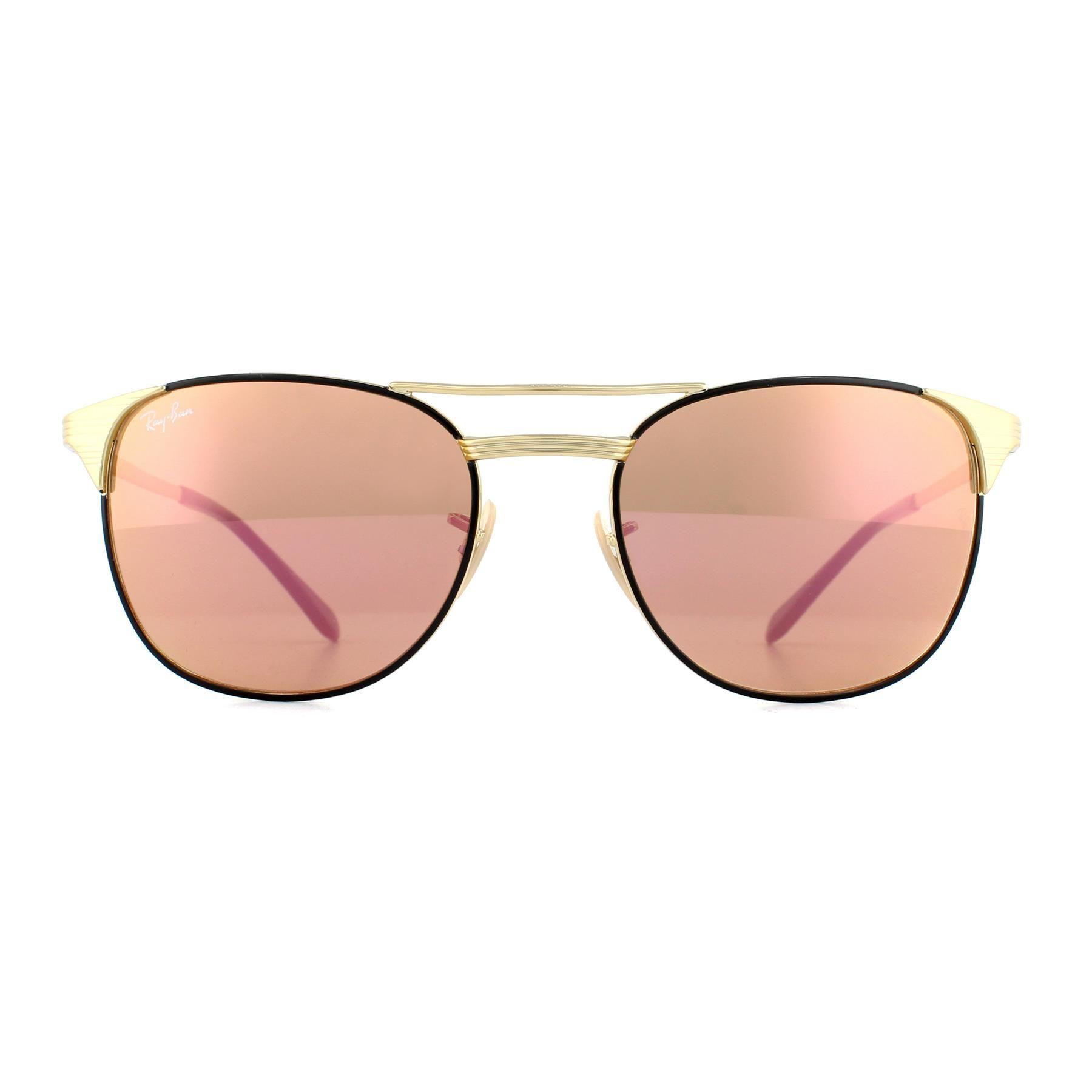 Ray-Ban Sunglasses Signet 3429M 9000Z2 Black Gold Copper Mirror 55mm