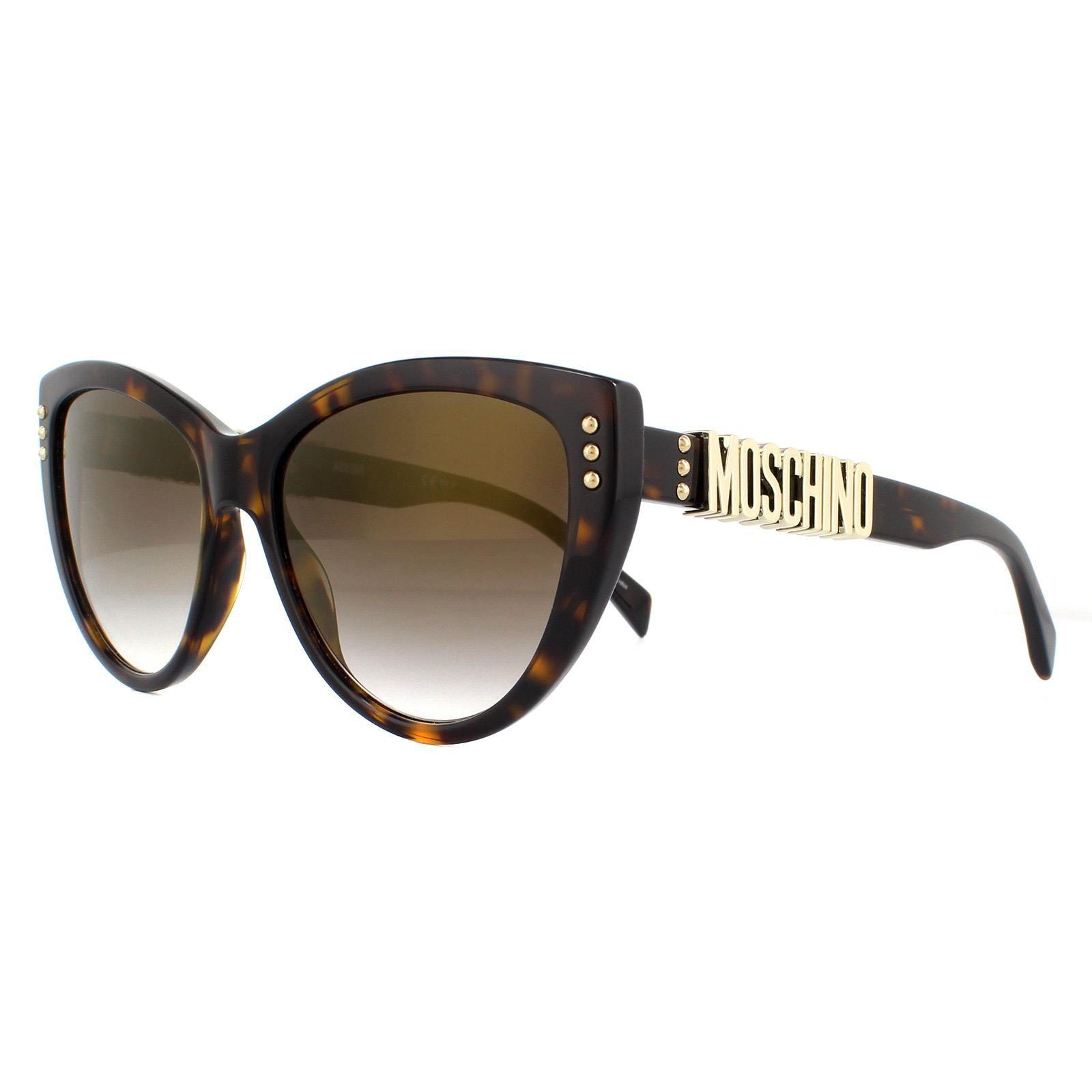 Moschino Sunglasses MOS018/S 086 JL Dark Havana Brown Gold Mirror