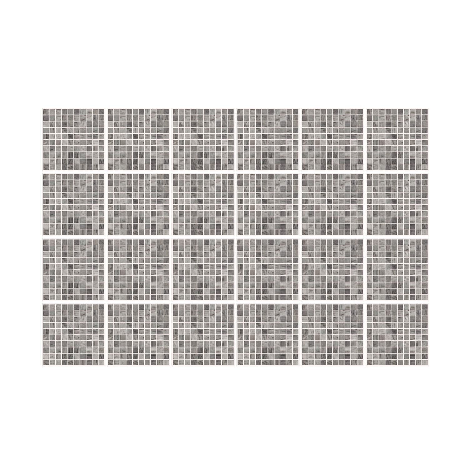 Picasso Grey Marble Mosaic Wall Tile Sticker Set - 15cm (6inch) - 24pcs one pack Self Adhesive DIY Wall Sticker