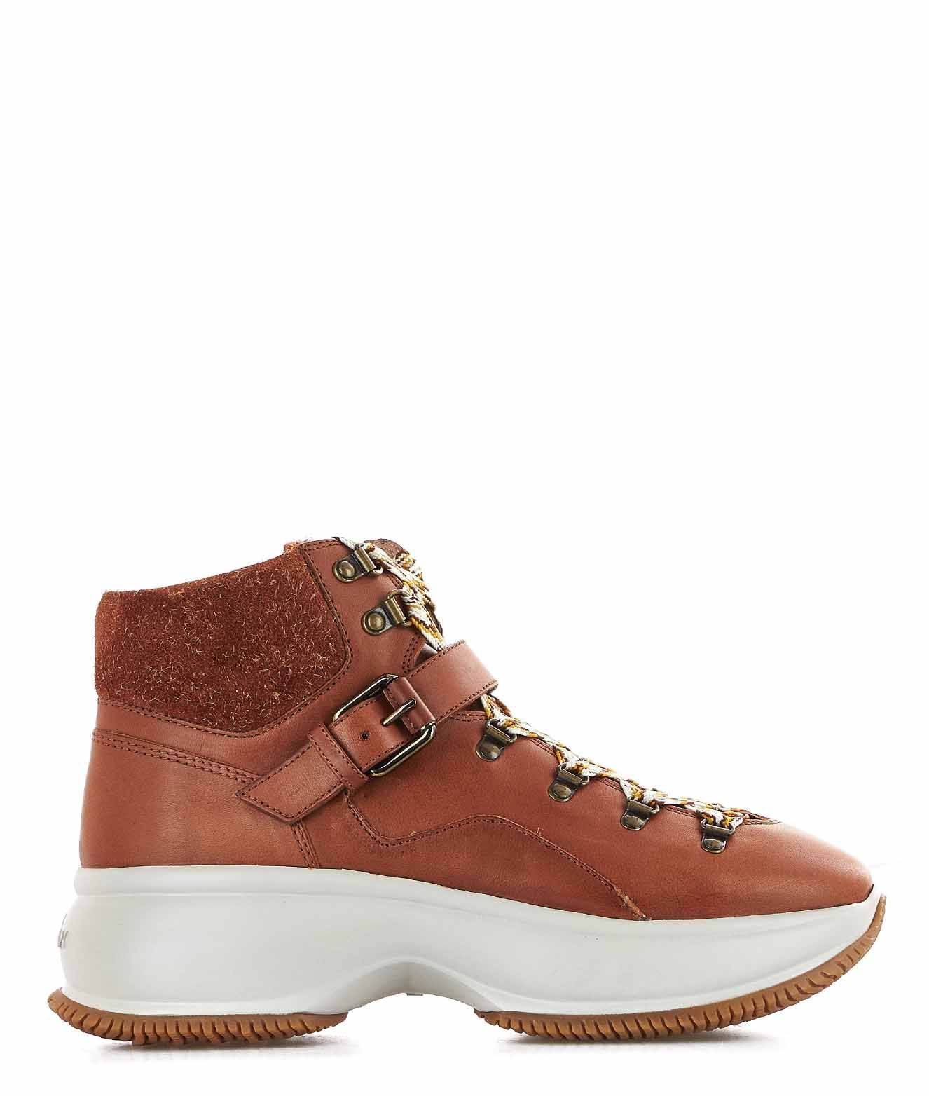 HOGAN WOMEN'S HXW4350CA30LQ9S003 BROWN LEATHER ANKLE BOOTS