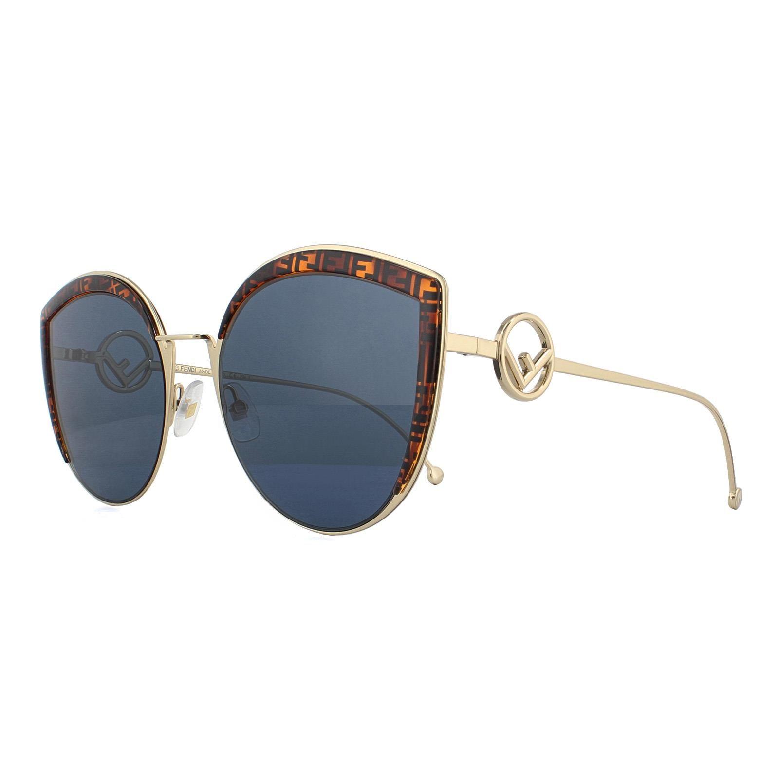 Fendi Sunglasses FF 0290/S J5G KU Gold and Brown Fendi Pattern Blue