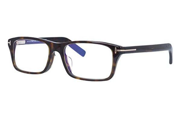 Tom Ford Rectangular plastic Men Eyeglasses Dark Havana / Clear Lens