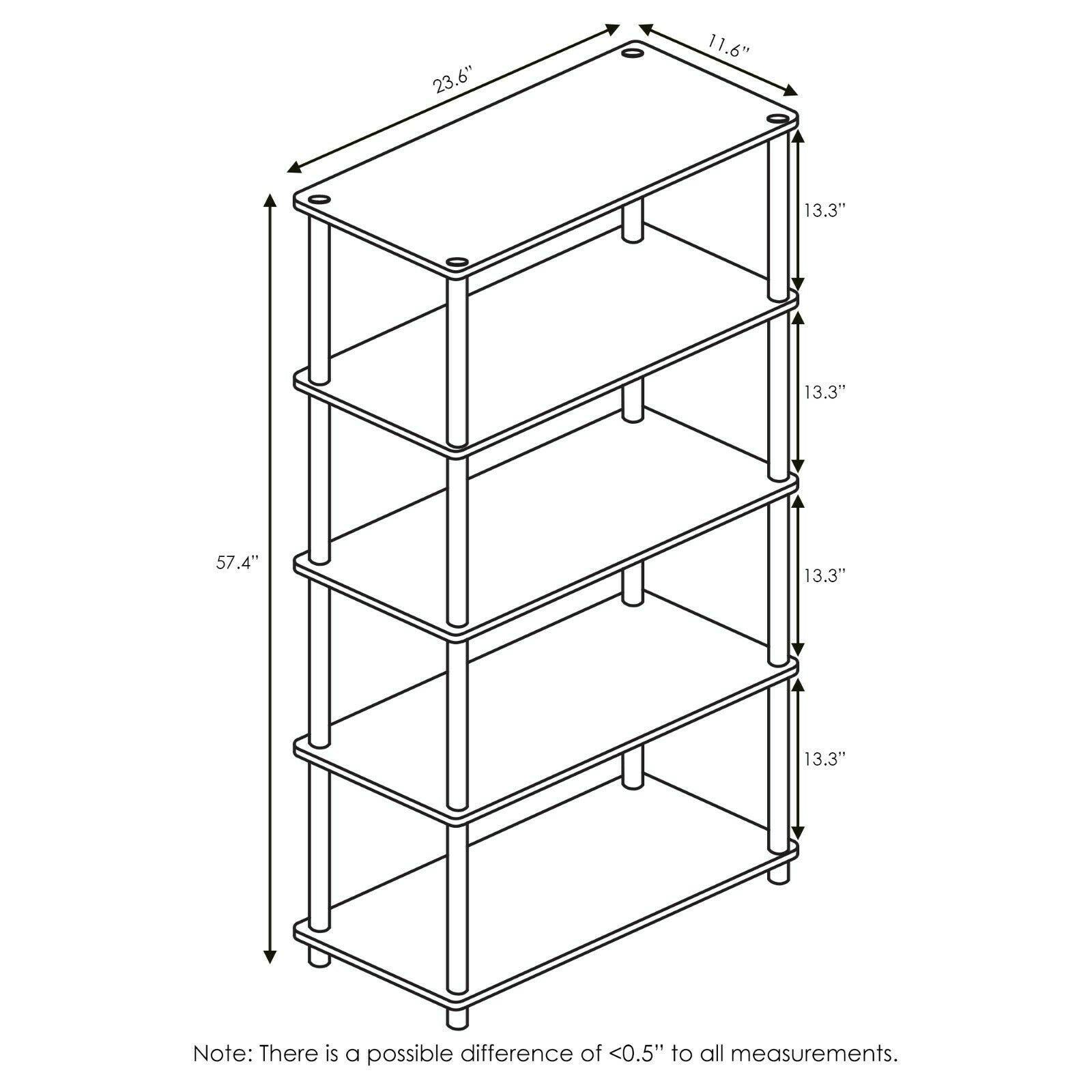 Furinno Turn-N-Tube 5-Tier Multipurpose Shelf Display Rack, Light Cherry/Black
