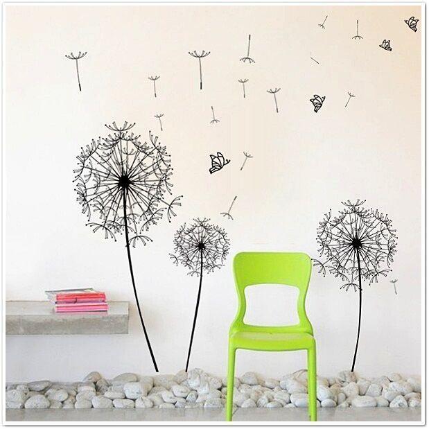 Huge Black Dandelion Wall Stickers, Kitchen, Bathroom, Living room, Self-adhesive, Decal, Decoration,DIY,  Flowers