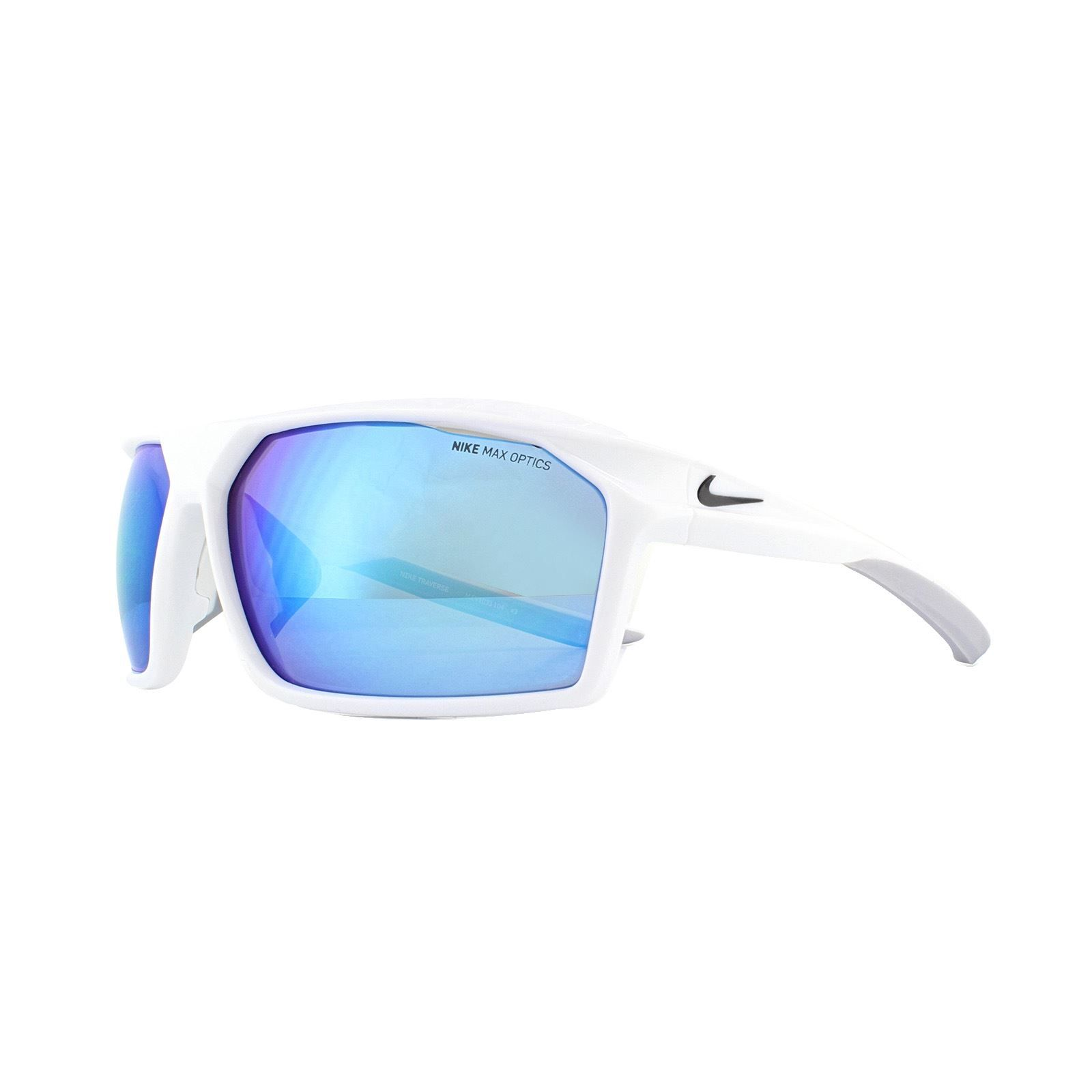 Nike Sunglasses Traverse M EV1033 104 Shiny White Grey Blue Mirror