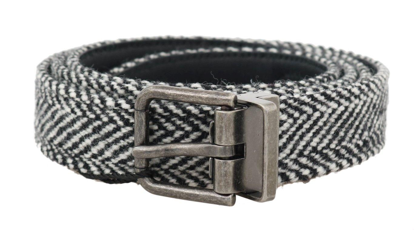 Dolce & Gabbana Black White Chevron Wool Leather Belt