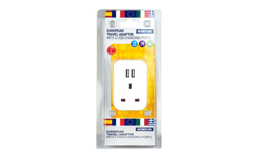 Status European Travel Adaptor White with 2 USB Charging Ports