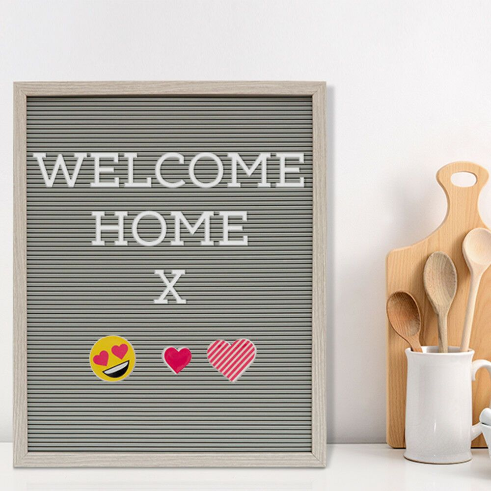 Grey Felt Rustic Frame Message Peg Letter Board with 188 Letters & 11 Emojis 40x40cm