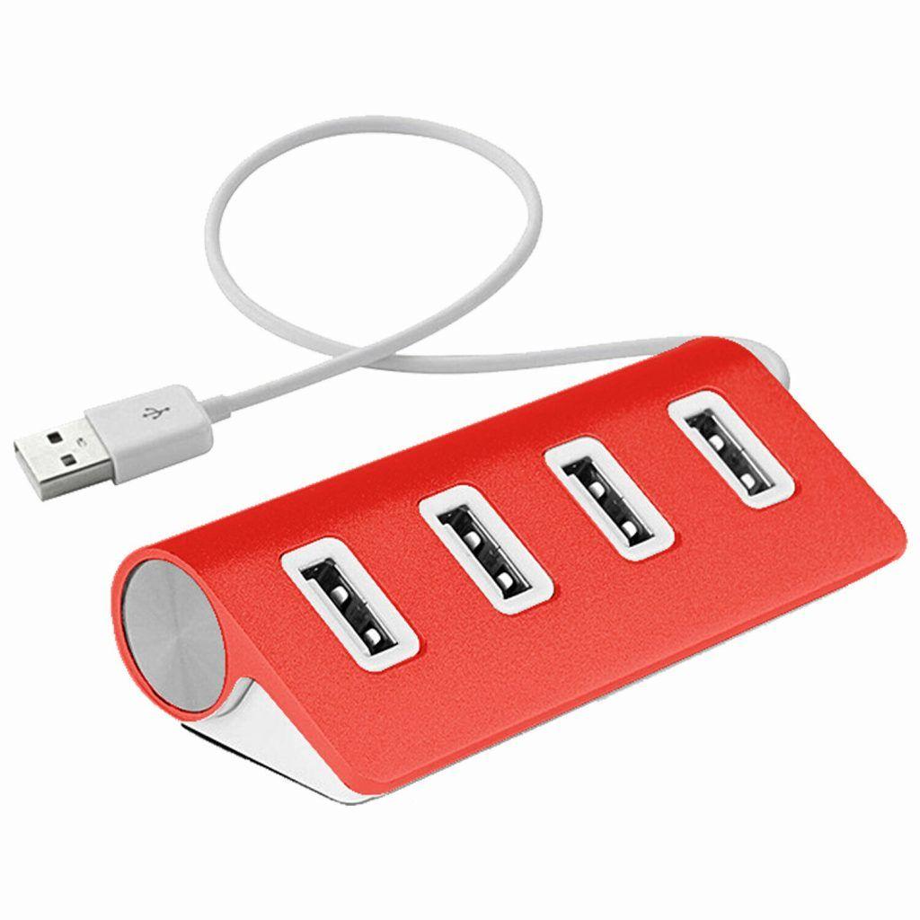 AQ Four-Port Aluminium USB Hub Red