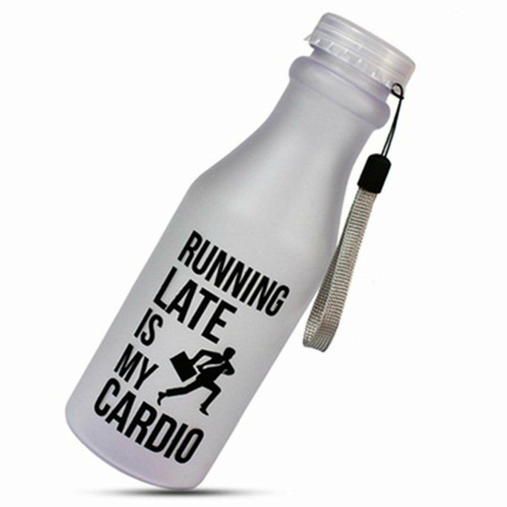 Aquarius Water Bottle Running Late is my Cardio 550ml White