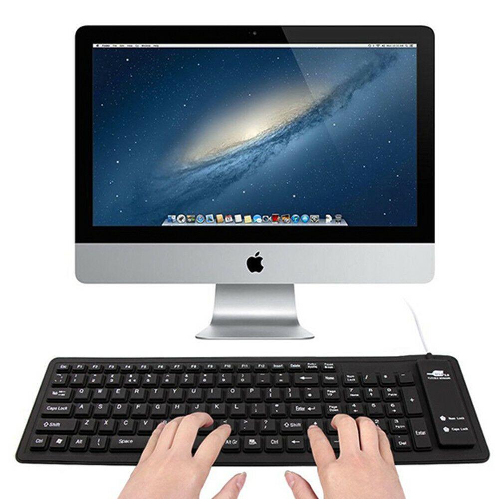 Flexible Mini Portable Roll Up Soft Silicon Keyboard Waterproof - Black