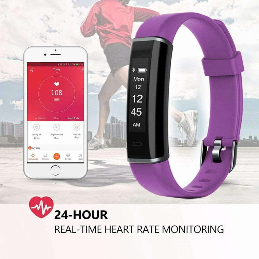 Aquarius AQ113 Fitness Tracker With Heart Rate Monitor Purple