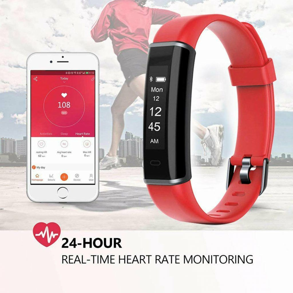 Aquarius AQ113 Fitness Tracker With Heart Rate Monitor Red