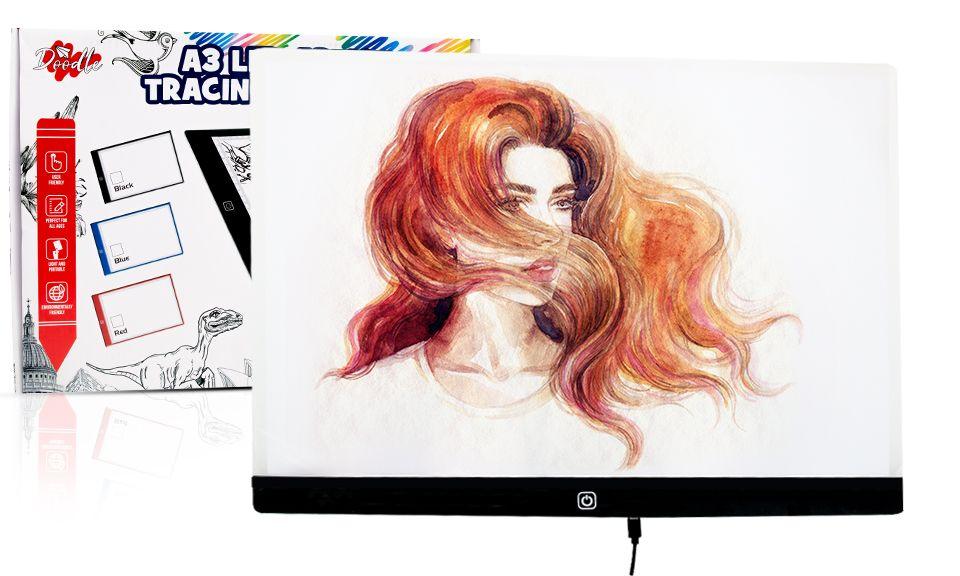 Doodle A3 LED Art Light Box With Brightness Black