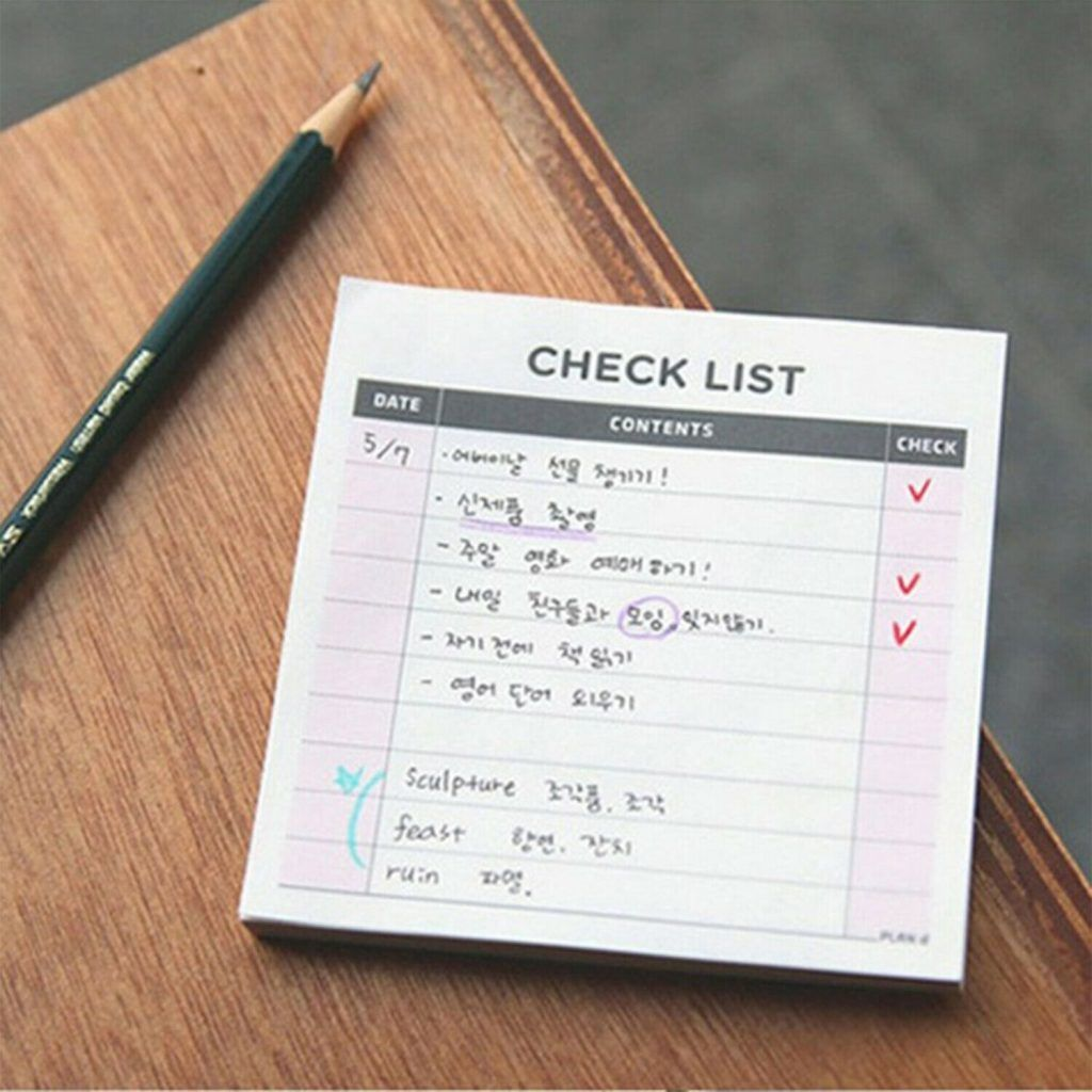 Haven Weekly Check List Pad