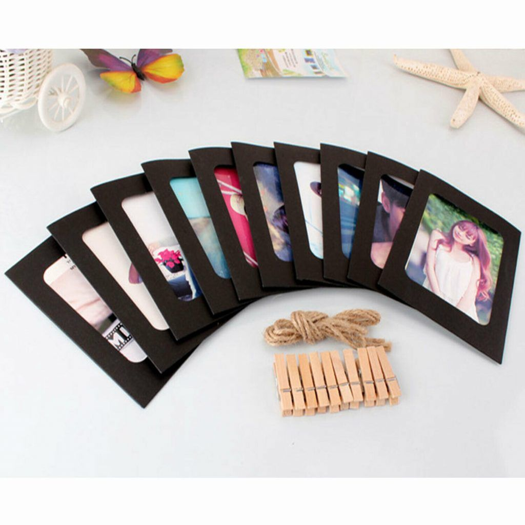 Paper Photo Frame Picture Mats With Mini Wooden Clips & Rope Set