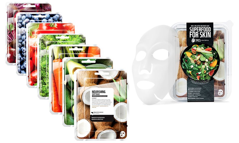 Envie Korean Superfood Vegan Face Mask Set for Hydrating your Skin - Pack of 7