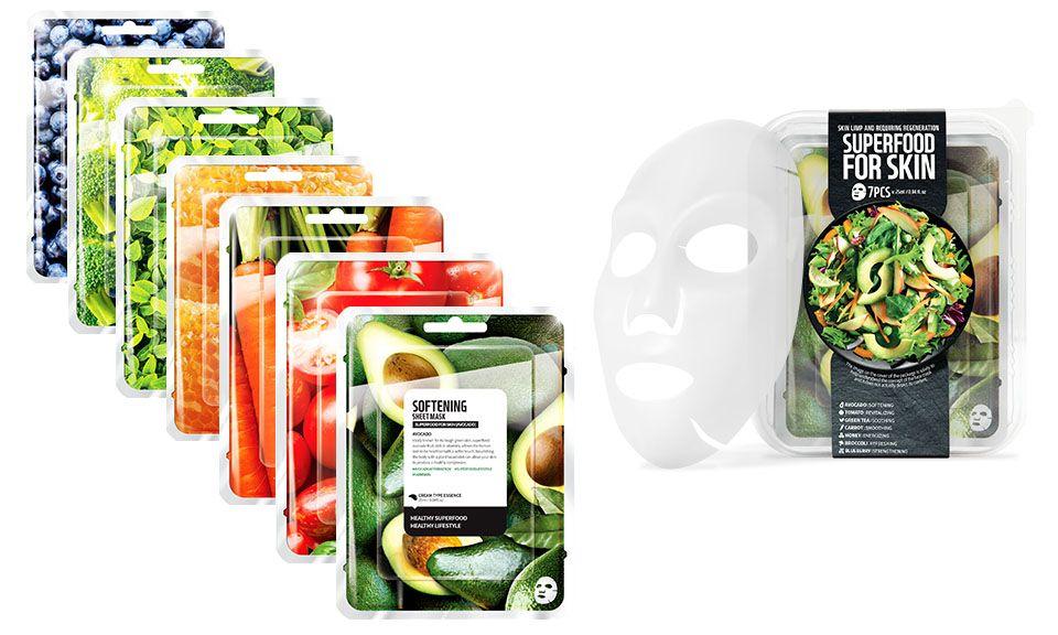 Envie Korean Superfood Vegan Face Mask Set for Energising your Skin - Pack of 7