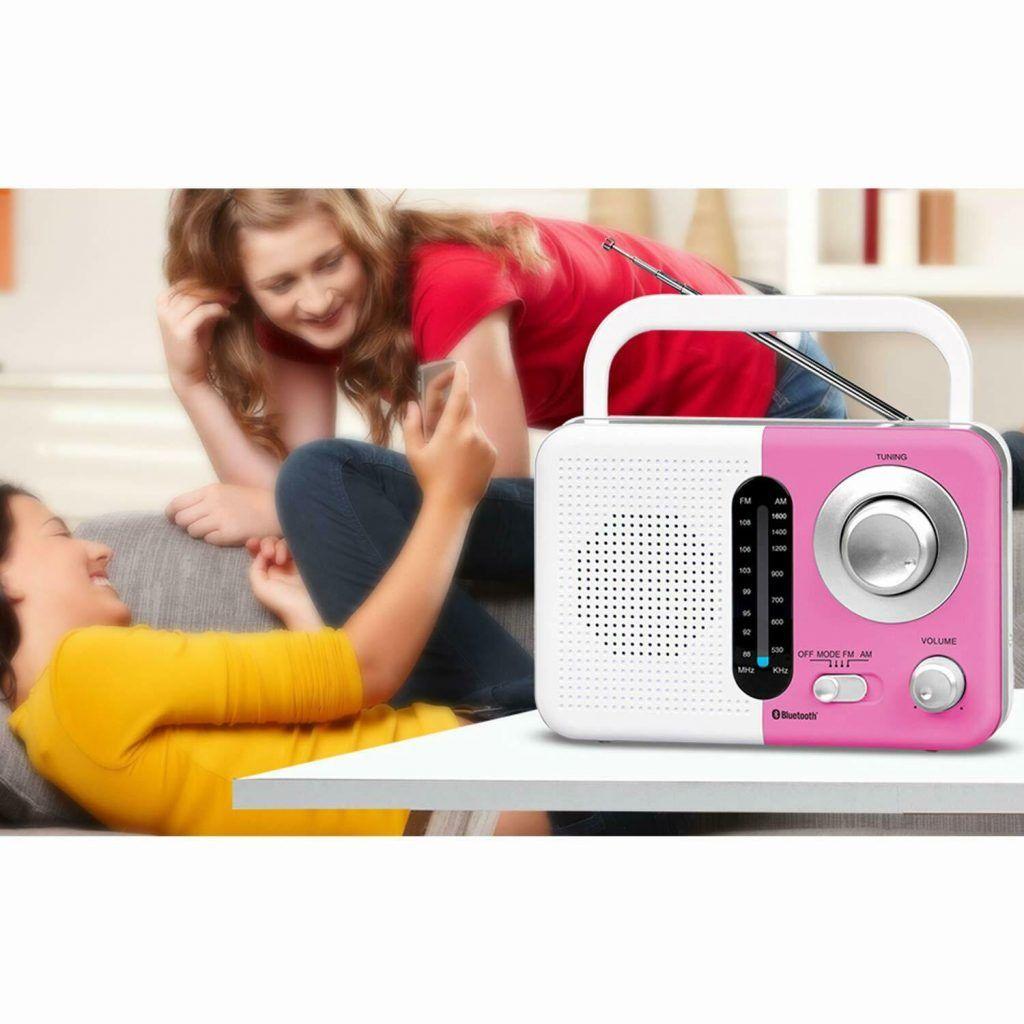 Soundz SZ412 AM/FM Portable Bluetooth Radio With USB Port And SD Card Slot White & Pink